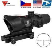 Hunting Riflescope ACOG 4X32 Real Fiber Optics Red Dot Illuminated Chevron Glass Etched Reticle Tactical Optical Sight