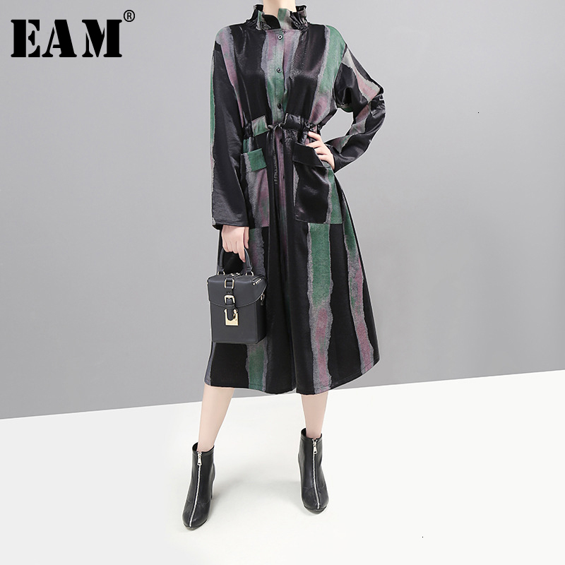 [EAM] Women Striped Bandage Long Big Sizze Dress New High Collar Long Sleeve Loose Fit Fashion Tide Spring Autumn 2019 1K00701