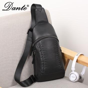 dante Men Sling Backpack 100% Cow cowhide leather Shoulder Bag Boys Student School Bag University Work Travel Versatile Fashion