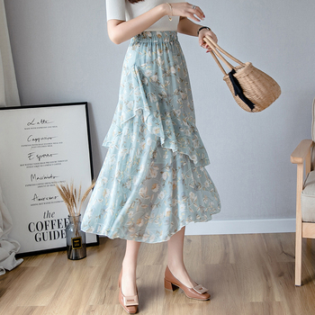 Vintage Floral Print A-line Pleated Long Skirts Summer Women Korean Skirt Streetwear Drawstring Elastic Waist Midi Skirt Lined diamond striped pleated skirt fashion elastic waist a line elegant long skirt for women autumn winter streetwear patchwork skirt