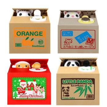 Lucky Cat Dog Panda Santa Claus White Thief Safe Box Toy Money Boxes Automatic Stole Coin Piggy Bank