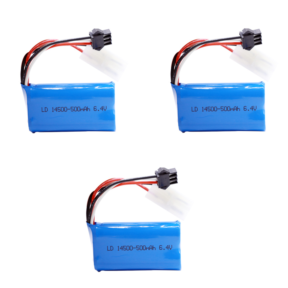 3PCS/lot 6.4v 500mAh 14500 Li-ion Battery for WLTOYS 18401 18402 drive climbing Offroad racing XQWR14 <font><b>HBX</b></font> <font><b>2098B</b></font> RC Car toy <font><b>parts</b></font> image