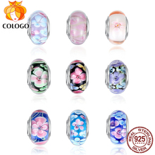 COLOGO 100% Real 925 Sterling Silver Effervescence Murano Glass Beads Fit Original Charm Bracelet  DIY Authentic S925 Jewelry lzeshine 100% real 925 sterling silver effervescence murano glass bead fit original pandora charm bracelet authentic psgb