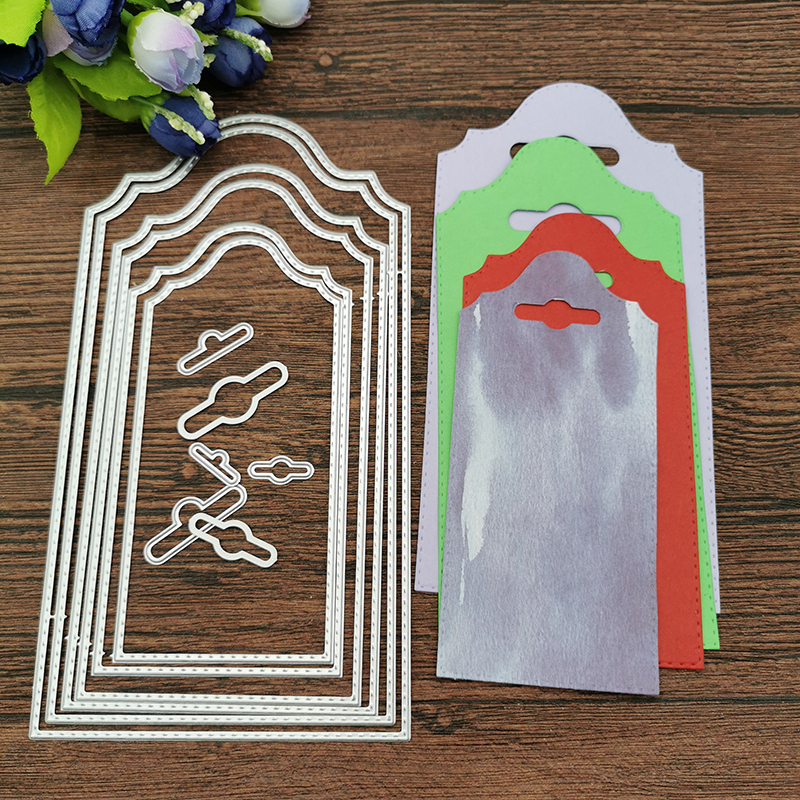 6Pcs Personality Wallpaper Background Tag Metal Cutting Dies Stencils Die Cut For DIY Scrapbooking Album Paper Card Craft Gift