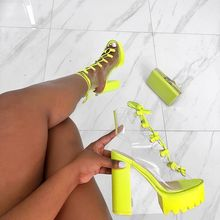 Neon Green PVC Jelly Sandals Open Toe Lace-up Gladiator High Heels Summer