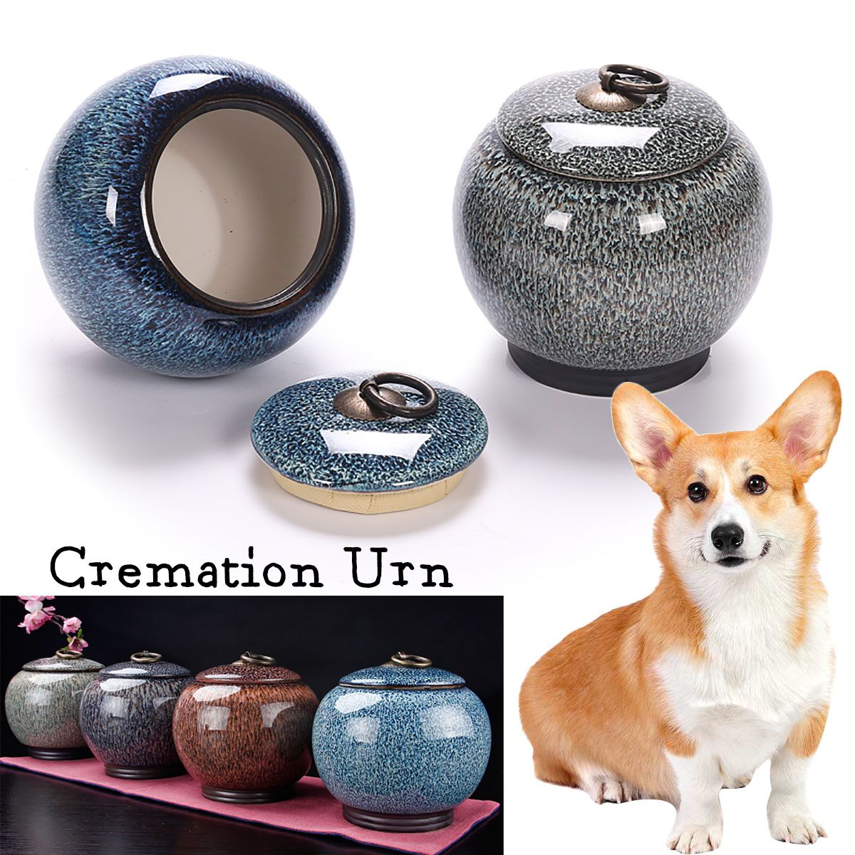 4 Color Ceramics Pet Cremation Memorial Urn Jar For Dog Cat Bird Mouse Ashes Keepsake Storage Box 12.5x11.5cm