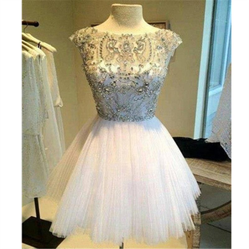 Robe De Soiree 2018 Vestidos Curtos Para FestaReal Pictures A Line Beaded Prom Short Graduation Bridesmaid Dresses