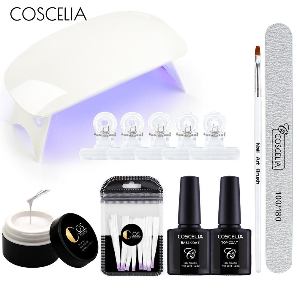 COSCELIA 6W Nail Lamp Dryer UV LED Manicure Set Nail Gel Fiberglass Extension Fiber Tips For Nails Manicure Tools Nail Art Kits