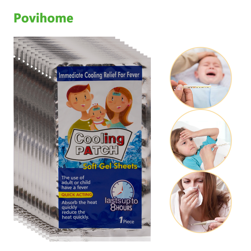 20bags Cooling Patches Baby Fever Down Medical Plaster Migraine Headache Pad Lower Temperature Ice Gel Polymer Hydrogel D1987