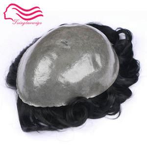 Men Toupee Hair-Wig Skin Human-Hair-System Tsingtaowig Silicone Thin Super-Durable Base