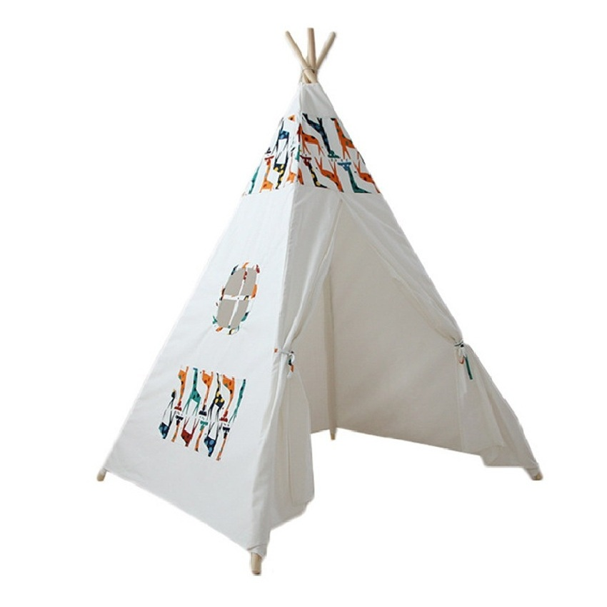 Children Tent Wooden Support Cotton Canvas Indoor Game House Removable And Washable Family Play House Kids Interest Development