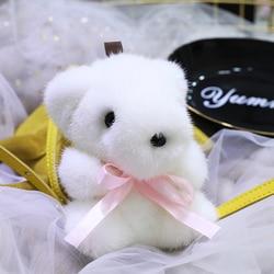 Small white bear doll pendant genuine mink fur bear pendant plush bear pendant bag pendant