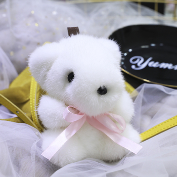 Small white bear doll pendant genuine mink fur bear pendant plush bear pendant bag pendant her jewellery cute small bear pendant necklace best fashion pendant made with crystals from swarovski hp0538
