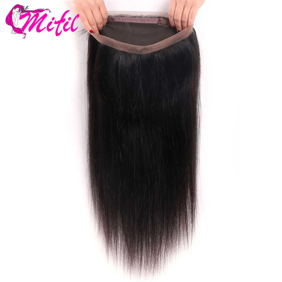Mifil 360 Lace Frontal Closure Indian Straight Hair 360 Frontal Closure With Baby Hair Remy 100% Human Hair Extension