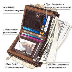 Image 3 - KAVIS Rfid 100% portfel ze skóry naturalnej mężczyźni Portomonee posiadacz karty monety kiesy mały męski portfel jakości Mini crazy Horse