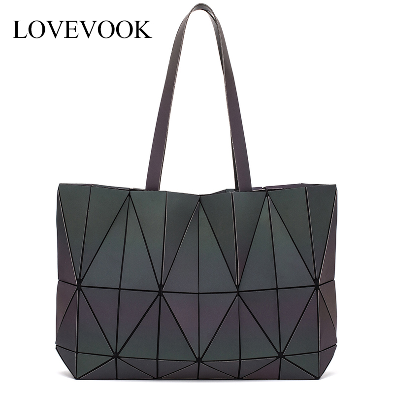 LOVEVOOK Women Shoulder Bags Foldable Totes Female Luxury Handbags Women Bags Designer Large Capacity Geometric Luminous Bag
