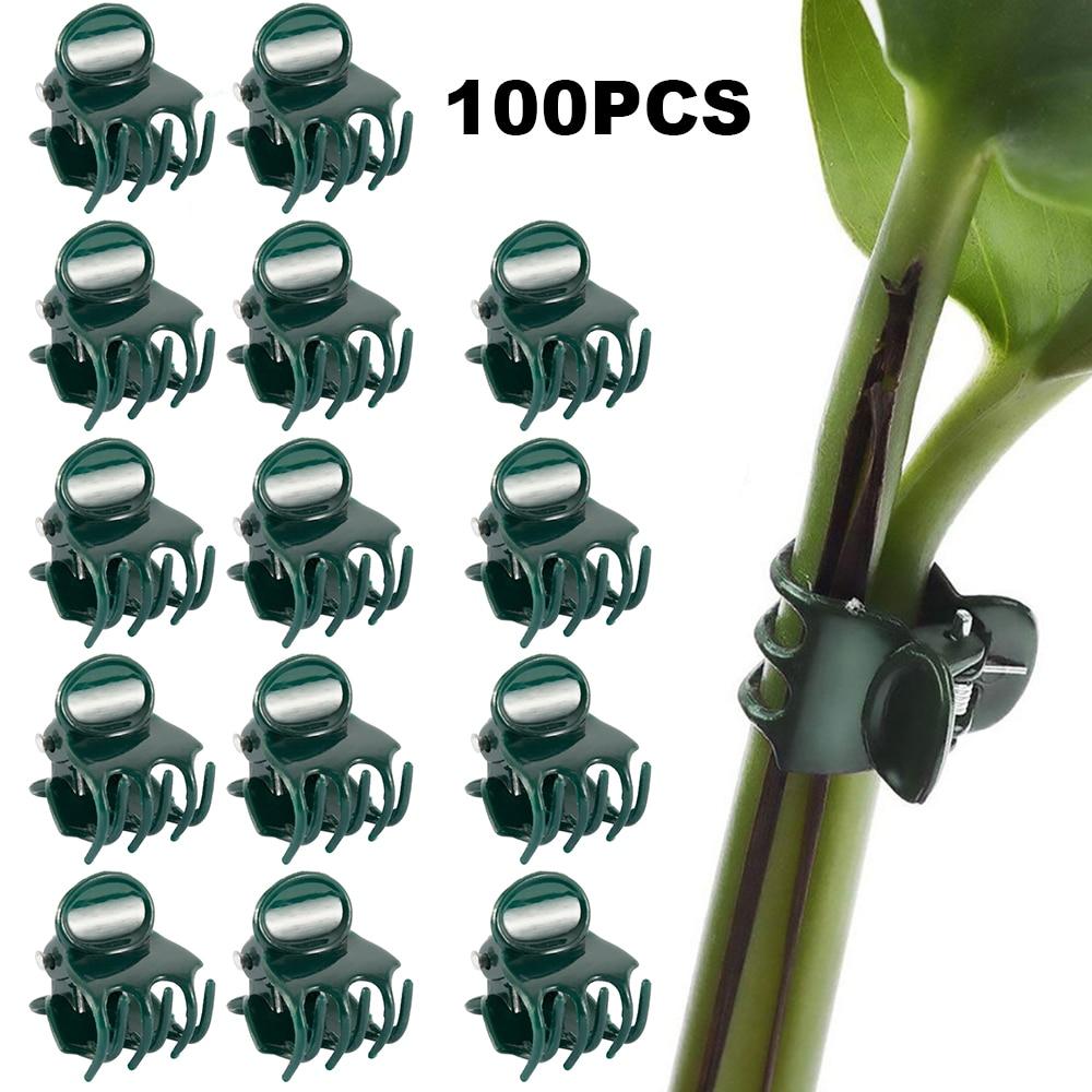 100pcs Garden Plant Clips Plastic Support Orchid Stem Clip For Vine Vegetables Flower Tied Bundle Branch Clamping Garden Tool