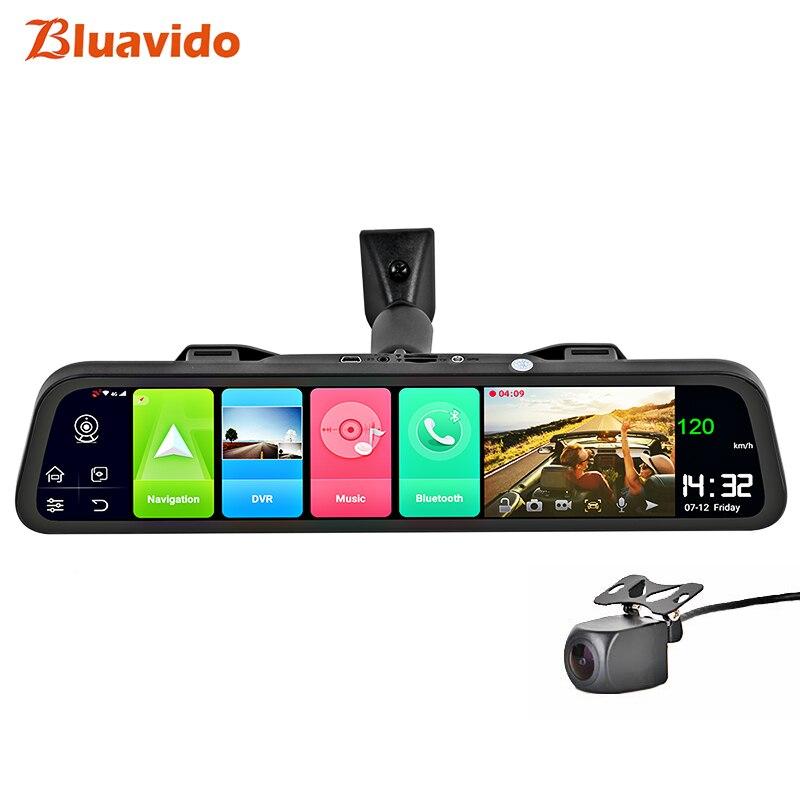 Bluavido Français 4G Android 8.1 voiture DVR caméra GPS 12 pouces rétroviseur 2G RAM dash cam enregistreur vidéo ADAS surveillance de stationnement