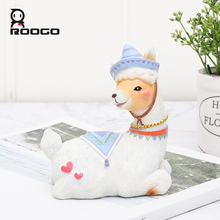 Roogo Mini Home Decoration Accessories Cute Alpaca Figurines Ornaments For Decor Best Birthdays Gift To Kids