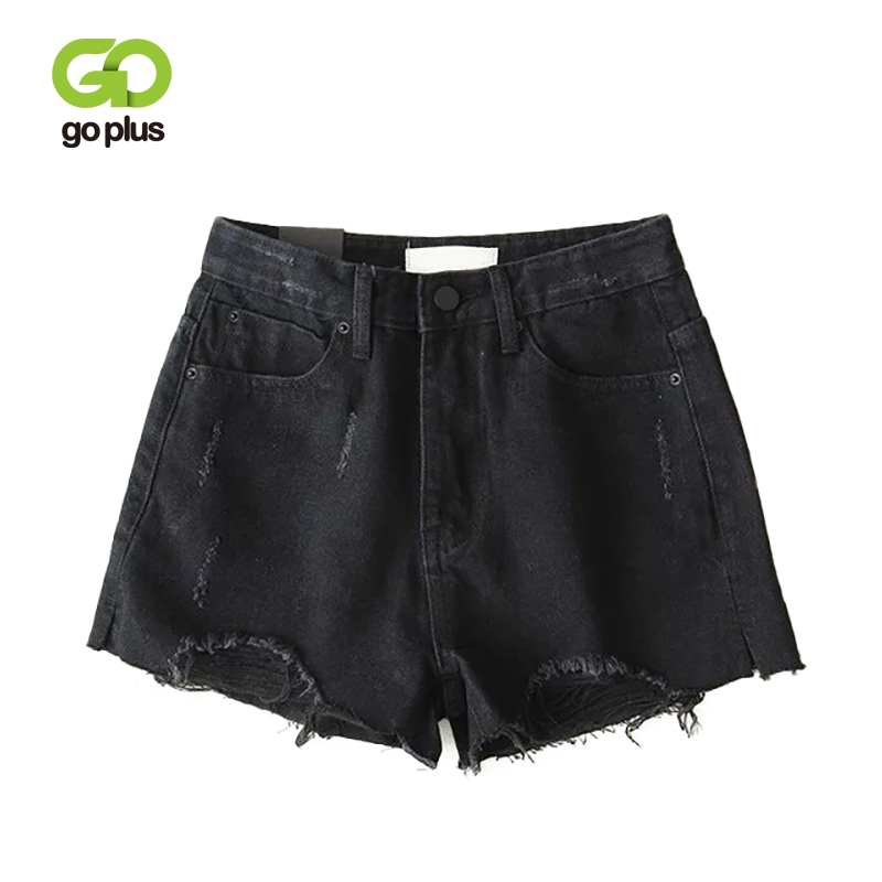 GOPLUS Shorts Women Ripped Denim Shorts Jeans High Waist Fringe Black Straight Shorts Feminino Spodenki Damskie Ropa Mujer C9808
