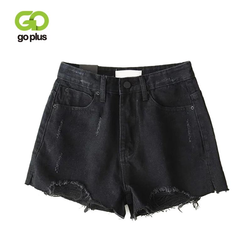 GOPLUS Shorts Women Ripped Denim Shorts Jeans High Waist Fringe Black Straight Shorts Feminino Spodenki Damskie Ropa Mujer C9808