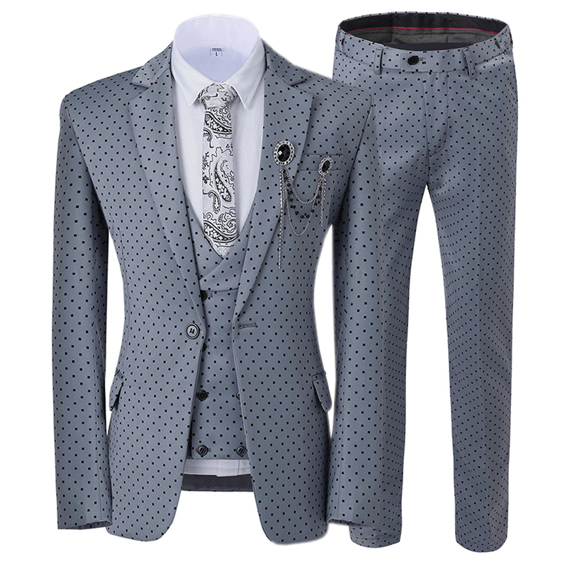 Mens Suits Wavelet Point Three Piece Suit Men Dress Casual Commuter Office Business Suits For Wedding(Blazer+Vest+Pants)