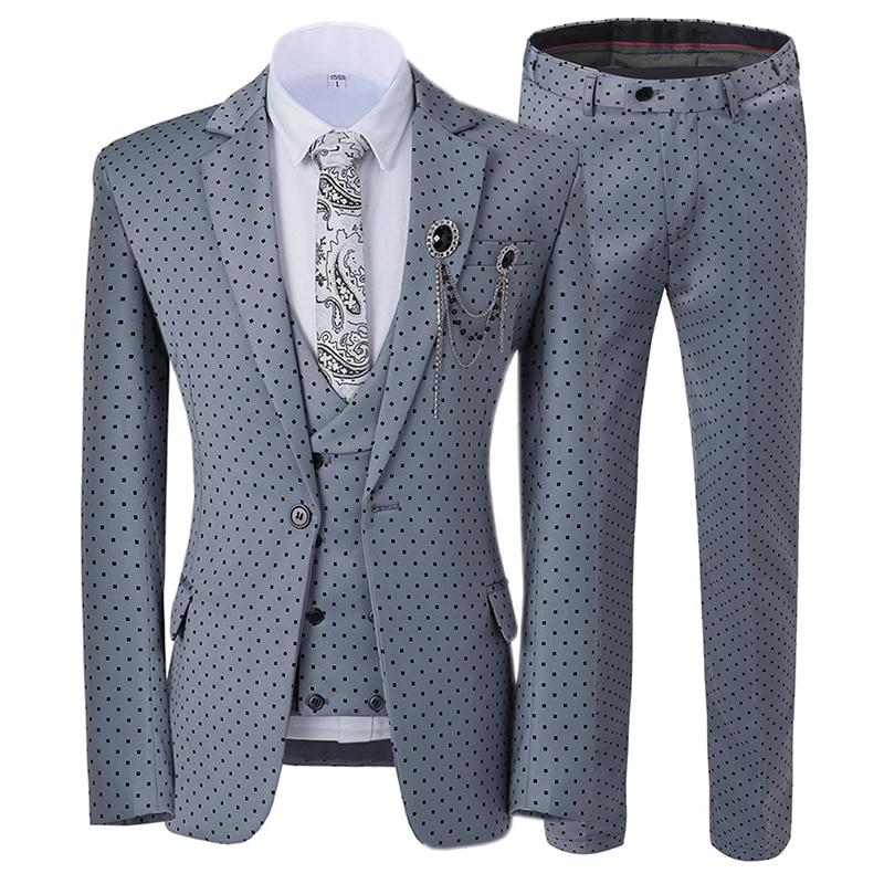 Mens Suits Wavelet Point Three Piece Suit Men Dress Casual Commuter Office Business Suits For Wedding(Blazer+Vest+Pants)