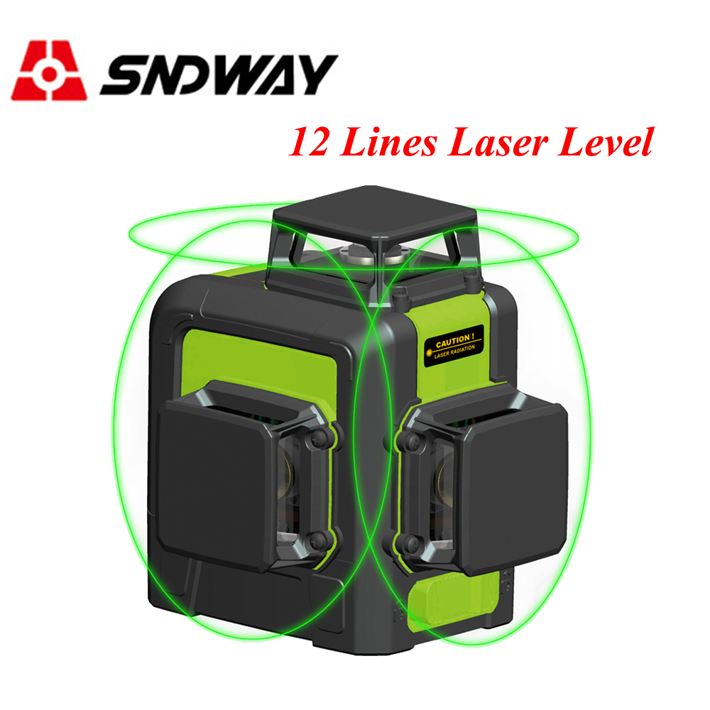 Sndway <font><b>12</b></font> <font><b>lines</b></font> <font><b>laser</b></font> <font><b>level</b></font> 360 <font><b>3d</b></font> Red/Green <font><b>laser</b></font> <font><b>level</b></font> 2 <font><b>lines</b></font> self leveling <font><b>laser</b></font> tools cross vertical horizontal leveler image