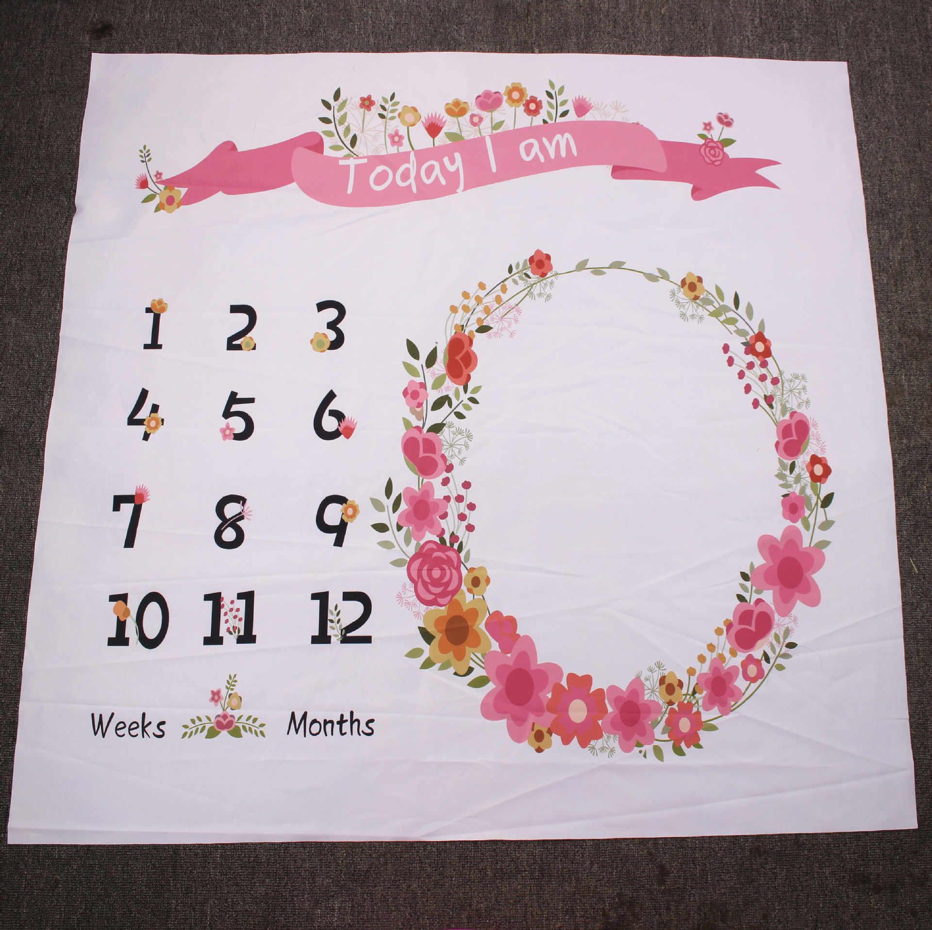 Noworodek Milestone koce fotografia koc kwiat drukuj miękki koc DIY niemowlę fotografia rekwizyty