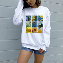 Women Van Gogh Painting Vintage Sweatshirt Fashion Graphic Pullover Tumblr Printed Casual Hoodies Top(China)