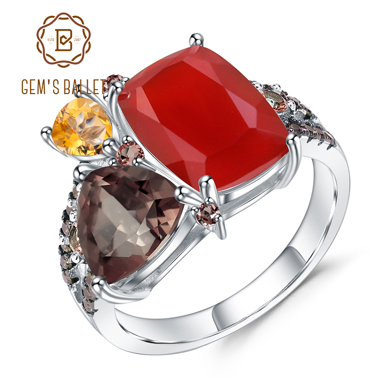 GEM'S BALLET Natural Carnalian Gemstone Ring 925 Sterling Silver Handmade Colorful Modern Irregular Rings for Women Bijoux