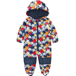 Image 3 - Childrens soft shell plus velvet integrated windproof and rainproof jumpsuit Childrens waterproof jumpsuit, warm jumpsuit,