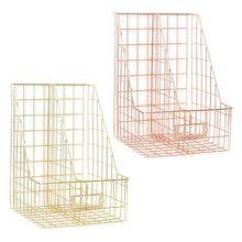 Storage-Organizer Desk-Shelf File-Holder Magazine-Book Iron Double-Grid Nordic New
