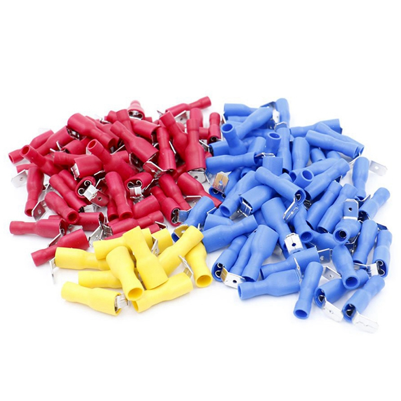 140Pcs 22-16/16-14/12-10 Gauge Semi-Insulated Piggy Back Spade Quick Splice Crimp Terminals Connectors Assortment Kit