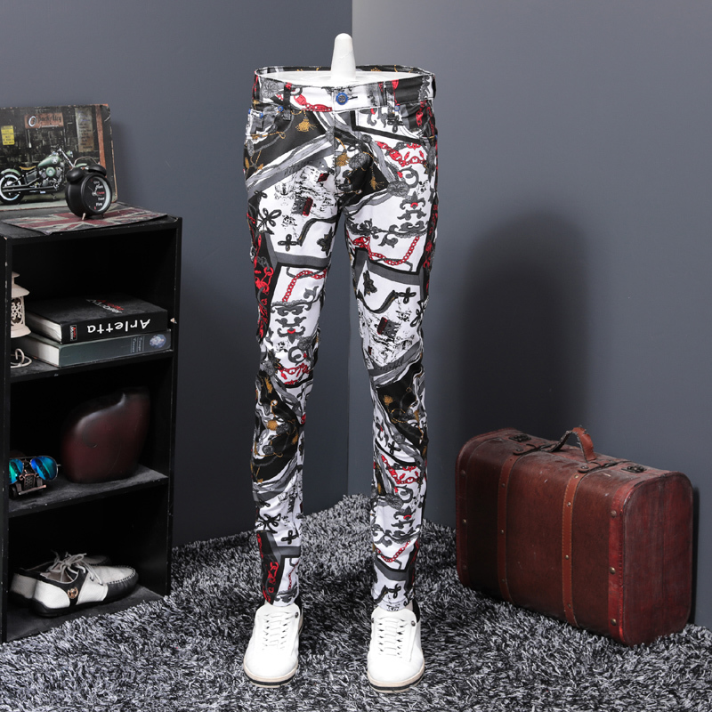 Personality Colorful Directly Canister Self-cultivation Trousers Trend 2019 Autumn Printing Cowboy Leisure Time Pants Male