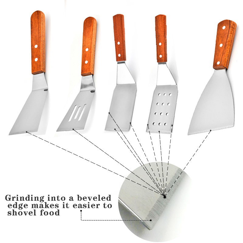 Wooden Handle Grill Turner Spatula