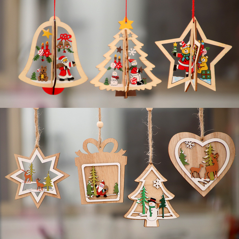1Pcs Wooden <font><b>Christmas</b></font> Decoration Xmas Tree Pendant 3D Embellishments Hanging Home New Year Party Bauble Decoration image