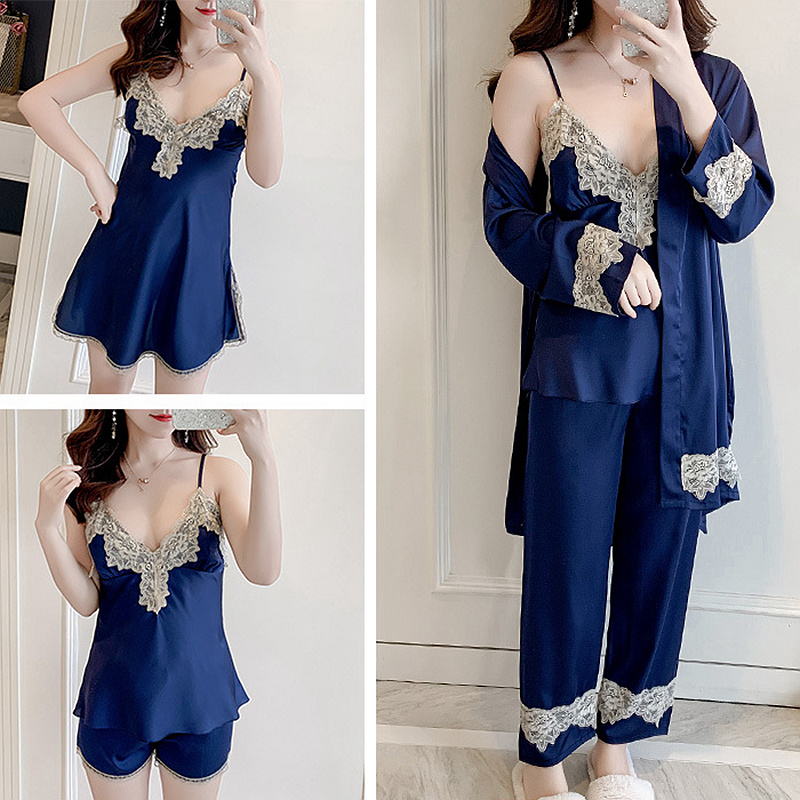 5 Piece Silk Lace Womens Tops And Blouses Pajama Set Pants Bathrobe Sets Pyjamas Women Sexy V-neck Sexy Lingerie Nightwear