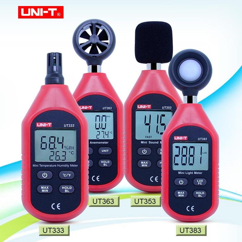 UNI-T мини-измеритель освещенности, цифровой Luxmeter UT333, UT353, UT363, UT383, цифровой термометр, гигрометр, Звуковой Измеритель Уровня, анемометр