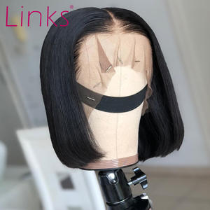 Links Straight Bob Wig Frontal-Wigs Short Human-Hair-Wigs Lace-Front Pre-Plucked 6-16inch