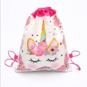 Unicorn Drawstring Bag For Girls Travel Storage Package Cartoon School Backpacks Children Birthday Party Favors 2019 Hot Sale