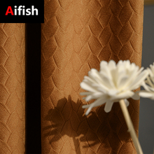 Aifish Nordic Modern Luxury Solid Velvet Curtains For Living Room Geometry Orange/Green/Yellow Blackout Curtains Bedroom Fabric