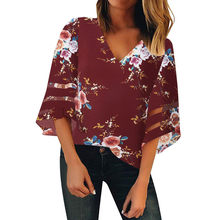 Long Sleeve Shirt Women Top Printing V Neck Blouse Femme 2019 Women's Blouses Womens Tops And Blouses Plus Size Blusas Femininas(China)