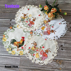 HOT round embroidery lace table place mat pad cloth cup coaster Easter placemat mug doily kitchen tableware decor