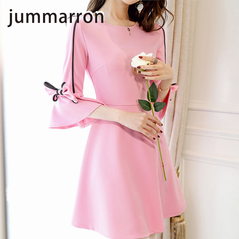 jummarron 2020 new women <font><b>dress</b></font> Spring <font><b>dress</b></font> Korea Mori style o-neck summer <font><b>dress</b></font> Half sleeve Bow offce lady elegant <font><b>dress</b></font> image