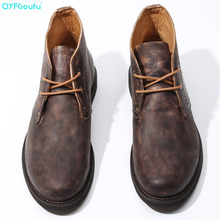 QYFCIOUFU Men Boots Genuine Leather Winter Shoes Fashion Round Toe Mid-Calf For Ankle Non-slip