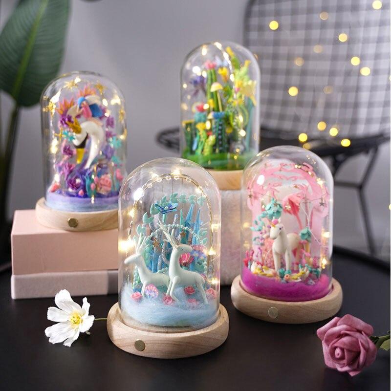 Robotime argile pour travaux pratiques Miniature Set fée décoration de la maison Plasticine Figurine artisanat avec LED cadeau de pâques pour les femmes femme DC-in Figurines et miniatures from Maison & Animalerie    1