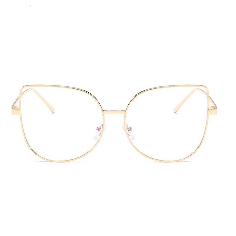 metal óculos redondos moldura lente clara orelhas
