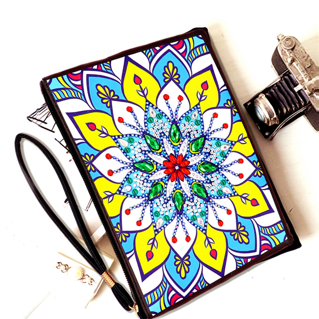 HUACAN 5D Diamond Painting Wallet Women DIY Special Shaped Diamond Art Embroidery Flowers Handmade Gift