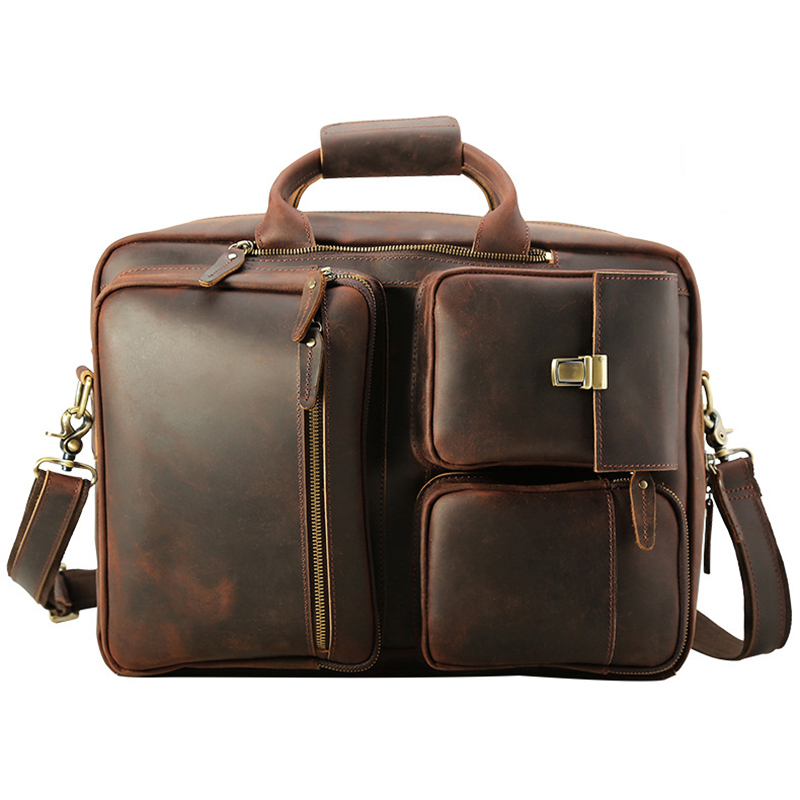 Luufan Men's Real Leather 15.6''Laptop Backpack Retro Brown  Shoulder Bag Genuine Leather Briefcases Travel Handbag  Multi-purpo